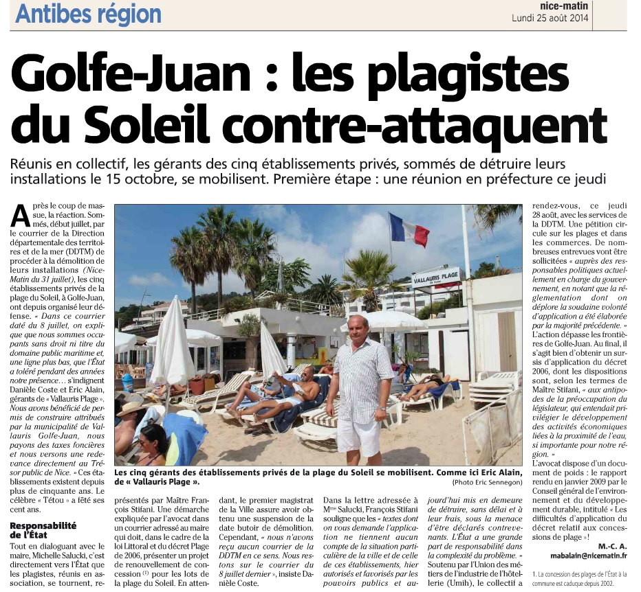 Golde-Juan : les plagistes du Soleil contre-attaquent